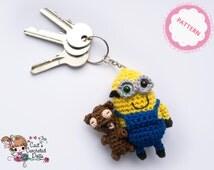 PATTERN crocheted Minion Bob keychain