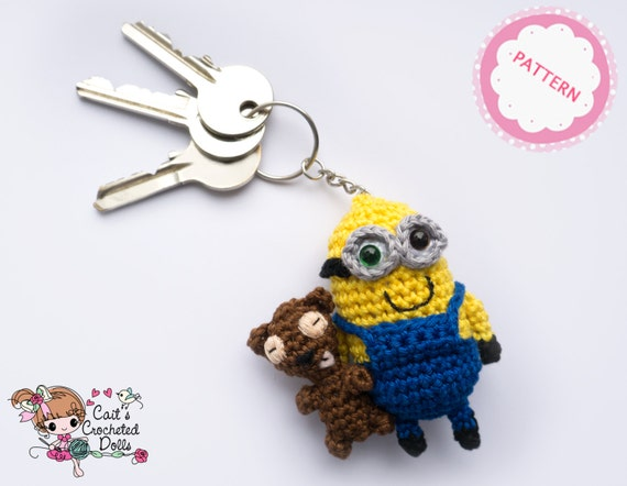 Free Crochet Pattern For Bob The Minion : PATTERN crocheted Minion Bob keychain