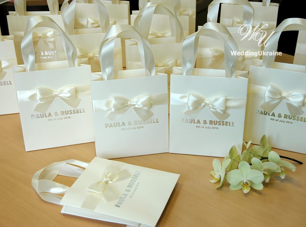 Welcome Wedding Gift Bags: 50 Ivory Wedding Gift Bags With Satin Ribbon Bow And Silver