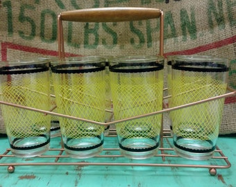 Retro Fishnet Style 8 piece Tumbler Set with Caddy