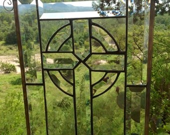 Clear Beveled Cross, Stained Glass, Handmade