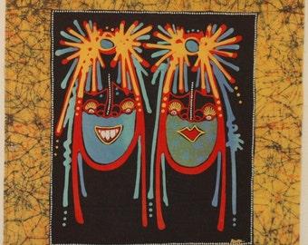 Indonesian Batik Panel--Masks, Cotton