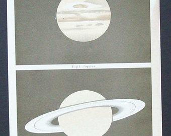 Antique Astronomical scientific illustration - Jupiter and Saturn (German Title)