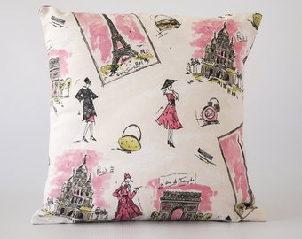 Paris 18x18 pillow, pink pillow cover, paris pillow, pink pillow, paris pillow cover, throw pillows, cushion, decorative pillows