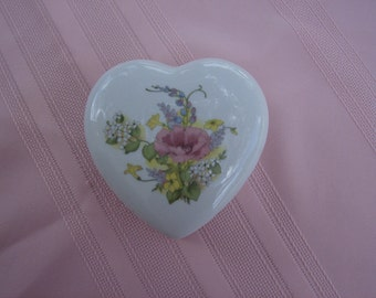 Heart Shaped, Porcelain, Trinket Box, The Tuscany Collection, 1980's
