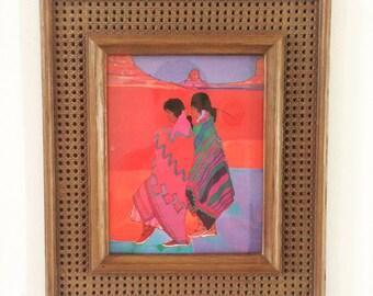 Vintage Amado Pena Print in Faux Wicker Frame, Vibrant Mestizo Art, Colorful Wall Art