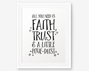All You Need is Faith, Trust & a Little Pixie-Dust, Tinkerbell, Peter Pan Nursery art, Nursery Wall Art, Children decor
