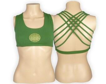 Flower of Life Green Yoga Bra Top - Yantra Criss Cross design workout bra - Athletic bra - sports bra - Hot Yoga Bra - Lycra Cotton Blend