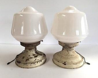 Pair of Antique Schoolhouse Lamp Light Fixtures Milk Glass Shades Vintage Set Patina Old House Restoration