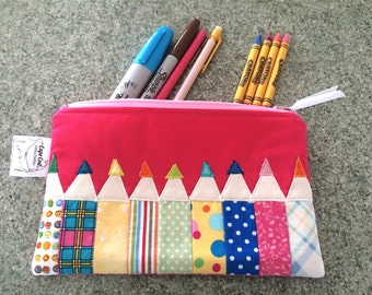 Pencil Pouch, Zipper Pouch, Crayon shaped case, Reusable snack bag, Crayon Holder, Cute Backpack organizer, Purse organizer, Markers storage