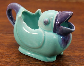 1950's Ceramic Duck Figural Creamer ~ Whimsical Look with Blue and Purple Colors ~ So Cute!