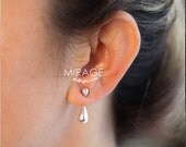 Rain Drop Ear Jackets, Sterling Silver Ear Jackets, Pair, Gift For Her / Mothers day gift
