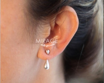 Rain Drop Ear Jackets, Sterling Silver Ear Jackets, Tear Dop,  Gift For Her / Pair