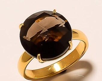 20% VALENTINES SALE Smoky quartz gemstone ring, silver over gold vermeil ring, Round gemstone ring, Brown gemstone ring JEWELRY