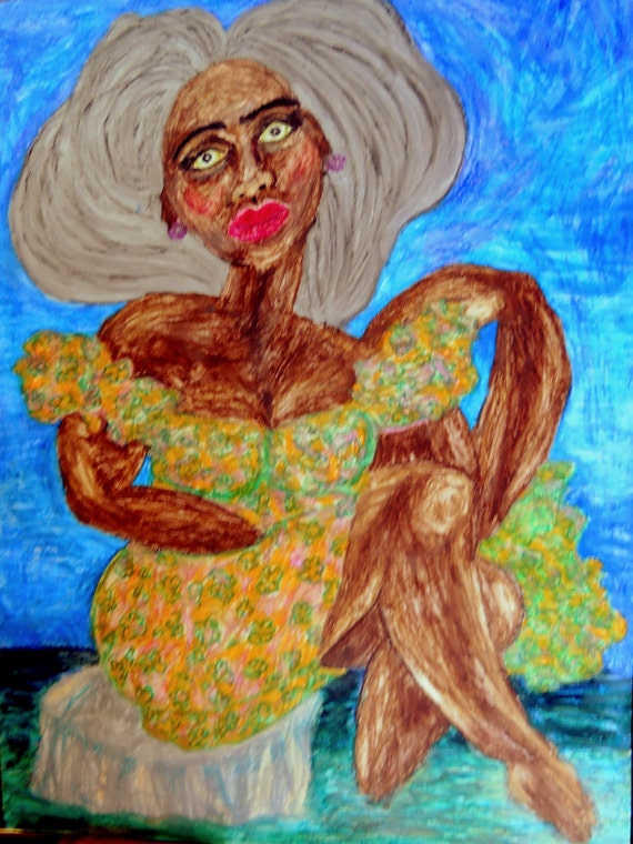 "ANUKET - Oil Pastel Painting Portrait of Woman of Color on 24 x 18"" Mix Media Paper, by Outsider Folk Artist Stacey Torres"