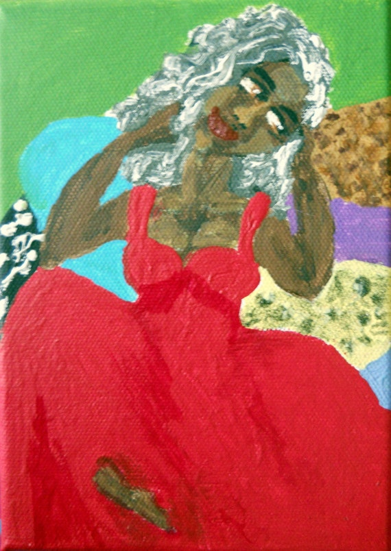 """STELLA - Acrylic painting on 5x7"""" canvas, woman in red gown on pillows, Naive Outsider Art African American Folk Art, Stacey Torres Artist"""