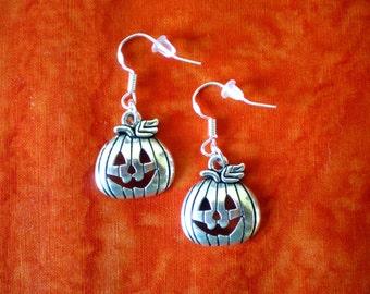 50% SALE Pumpkin Earrings..Fall Earrings..Autumn Earrings..Halloween Earrings..Halloween Jewelry..925 Silver Sterling Wire..FREE SHIPPING