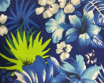 Blue Hawaiian Print Poly Cotton Print Fabric - Sold By The Yard -  59""