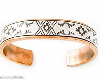Navajo Heavy Gauge Copper Silver Cuff Bracelet