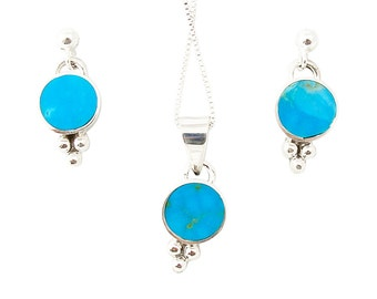 Navajo Silver Turquoise Necklace Earrings Set