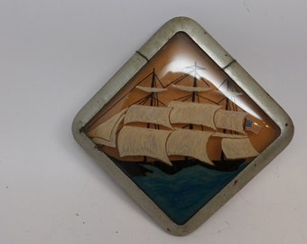 Vintage Art Deco Picture Frame - Picture Frame - Nautical Painting - Yankee Clipper Ship - Reverse Painted Picture