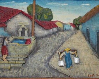 Vintage Mexican Hand Painted and Hand Cut Village Scene done on Wood