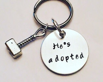 He's Adopted Hand Stamped Dog/Cat Pet Tag - Inspired by Thor and Loki Avengers Thorki Mjolnir