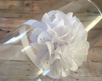White Eyelit Flower Headband, Flower Headband, White Headband