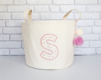 Personalized storage basket. Toy storage with pink initial. Laundry hamper. Storage bin.