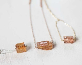 Rough Topaz Necklace on Sterling Silver or Rose Gold Filled, Raw Topaz Necklace, Delicate Imperial Topaz Necklace, November Birthstone