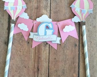 Hot Air Balloon Cake Topper- Cake Bunting, ONE cake topper,First Birthday Smash Cake topper, Hot Air Balloon Garland for cake