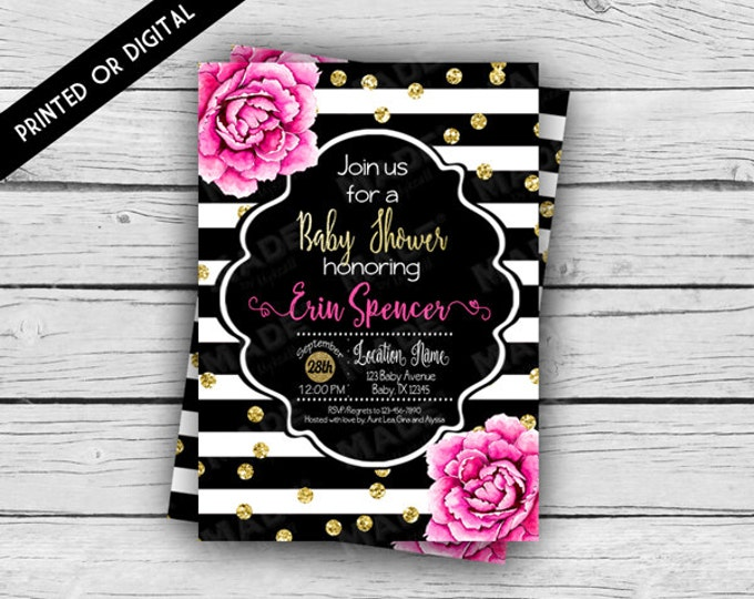 Printed - PINK PEONIES BABY Shower Invitation, Baby Shower, Girl, Mom-to-Be, Peonies, Custom Invites, Printable file, Stationery, Stripes