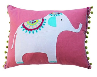 Pink Elephant Pillow Cover