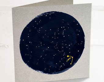 Libra Horoscope Astrology Birthday Card, Star sign zodiac with a minimalist astrology constellation design