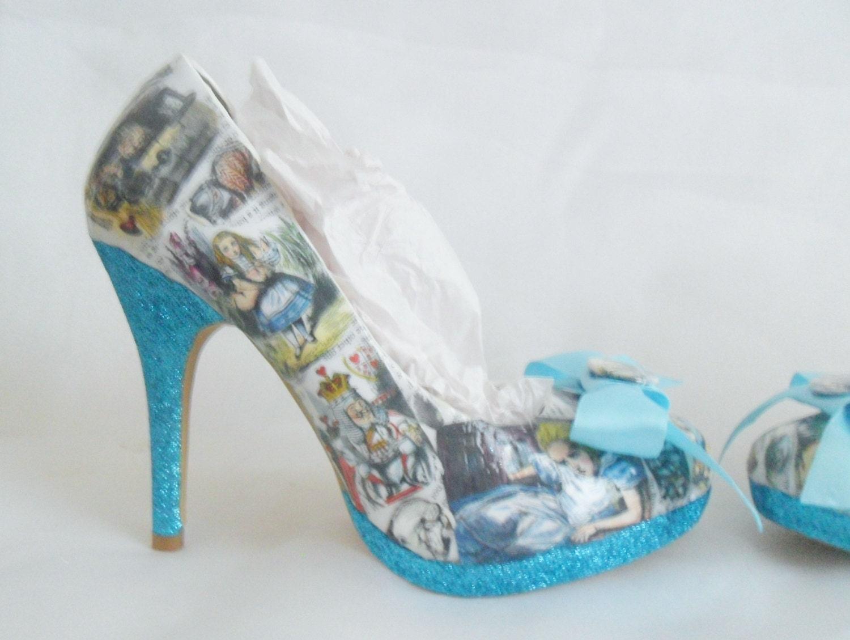 30681e91ddf1 Alice In Wonderland Decoupage Custom Personalised Women Glitter Handmade Shoe  High Heel Size 3 4 5 6 7 8 Platform. gallery photo .