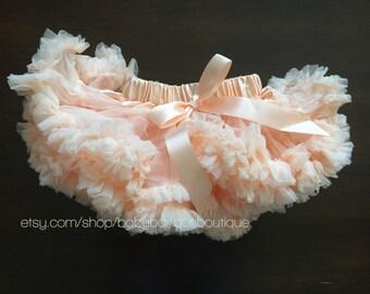 super fluffy pettikskirt, baby girl, peach petti skirt, peach fluffy skirt, peach tutu, lace pettiskirt