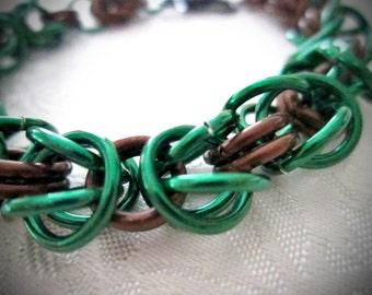 Green and Brown/Bronze Byzantine Weave Bracelet