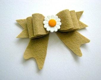 Felt Bow Hairclip, Felt Hair Clip, Autumn Felt flower Headband, Chic headband -Nylon Headband