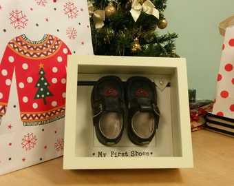Framed Baby's First Shoes Gift Artwork Box Frame