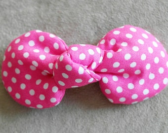 Pink and White Polka Dots Fabric Top Knot Hair Clip