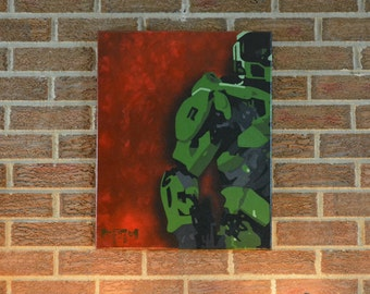 Master Chief- Halo #1 (Video Game), Abstract Acrylic Painting on Canvas, 16in x 20in, Unique Art, Wall Hanging