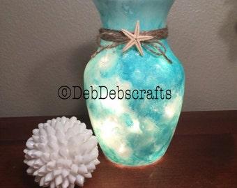 Sea glass beach vase Beach decor Lighted vase Table decor Beach wedding centerpiece Teal decor Beach theme decor