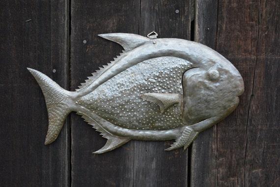 """Handmade Fish Under Water, Haiti Metal Art, 17"""" X 11"""""""