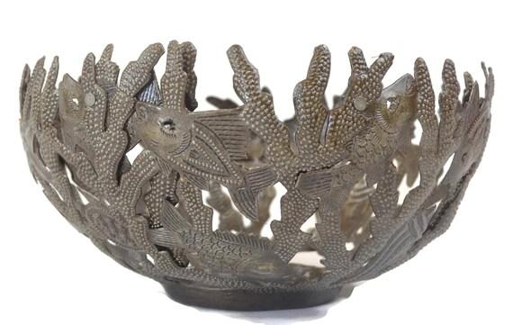 "Great for Kitchen or Bathroom, Handmade Metal Bowl, Sea Life Design Fruit Bowl, 7"" x 12"" x 12"""