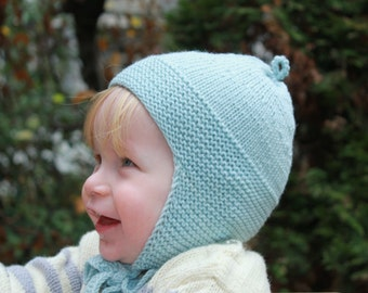 SALE 20% OFF Hand Knitted Pure Merino Wool Baby, Toddler & Kids Winter Hat in Light Aqua and Sand Beige - More Colors
