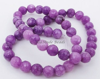ON SALE 8mm Purple Jade Beads (15) Faceted Round Jade Beads