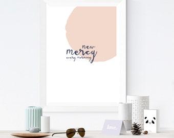 New Mercy | Wall Art | Wall Print | Faith Print | New Mercies | Lamentations 3:22-23 | Bible Verse