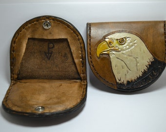 Wallet for coins in leather.