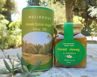 Greek Extra Virgin Olive Oil and Forest Raw Honey. All Natural Products,Gourmet Food