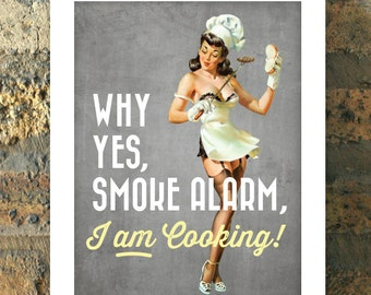BAD COOK Chef Pin Up Girl Print Kitchen Retro 1950s Apartment Art Poster